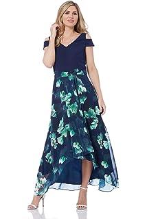 c72eb6e43e Roman Originals Women Floral Print Cold Shoulder Maxi Dress - Ladies V-Neck  Short Sleeve Smart…
