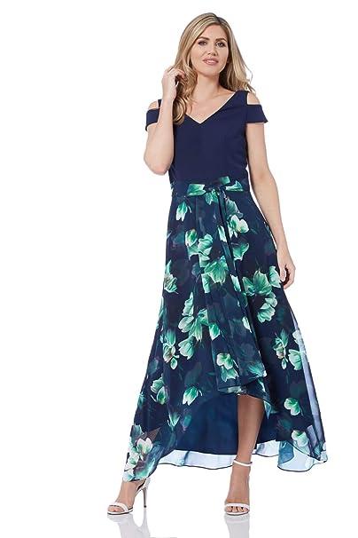 6a1964fa51c6 Roman Originals Women Floral Print Cold Shoulder Maxi Dress - Ladies V-Neck  Short Sleeve Smart Evening Special Occasion Summer Ceremony Wedding Guest  ...