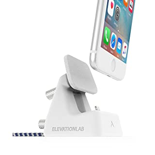 ElevationDock 4 - iPhone Dock, MFi-Certified, One Hand Undocking & Adjustable for Cases. (Matte White) iPhone Xs/Xs Max/XR/X /8/8 Plus/ 7/7 Plus