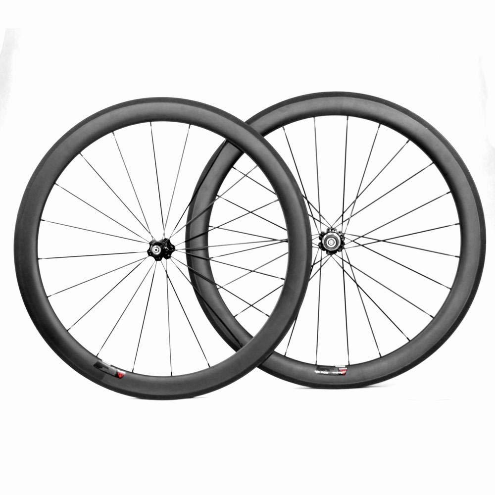 BIKEWISH 700c Carbon Clincher Wheelset with 50mm UD Matte 23MM Width Bike Wheels
