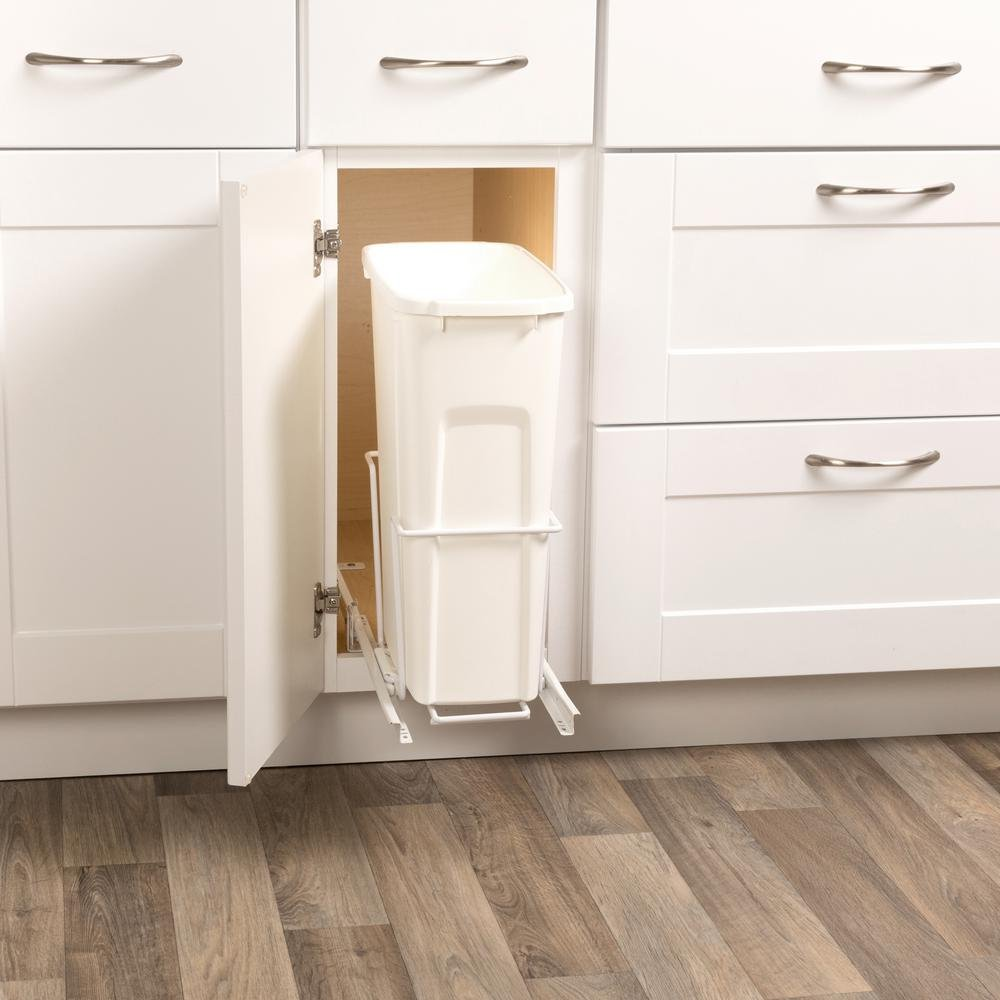 Real Solutions for Real Life 19 in. H x 14 in. W x 16 in. D Steel 35 Qt. In-Cabinet Single Pull-Out Trash Can in White