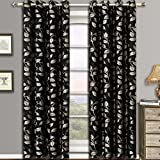 Charlotte Black Grommet Jacquard Window Curtain Panels, Pair / Set of 2 Panels, 52x84 inches Each, by Royal Hotel