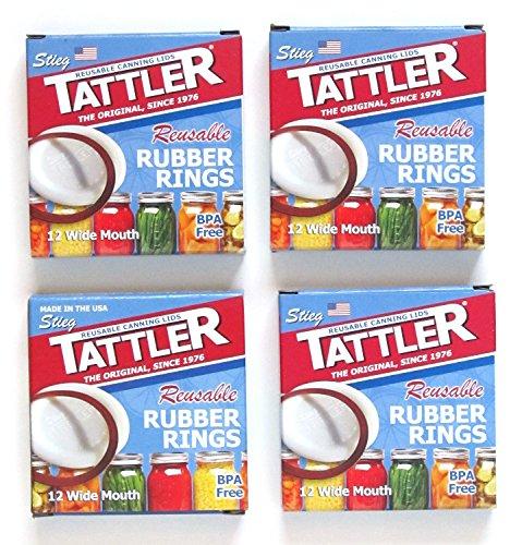Tattler Reusable Wide Mouth Canning Jar Rubber Rings - 12/pkg - 4 Packs - 48 Reusable Rubber Gasket Rings for Wide Mouth Canning Jars