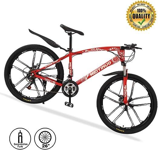 M-TOP 26 24 Velocidades Bicicleta de montaña Delantero Suspension, Bicicleta de Carretera para Mujer/Hombre, Doble Frenos Disco, Mountain Bike de Carbon Acero,Rojo ...