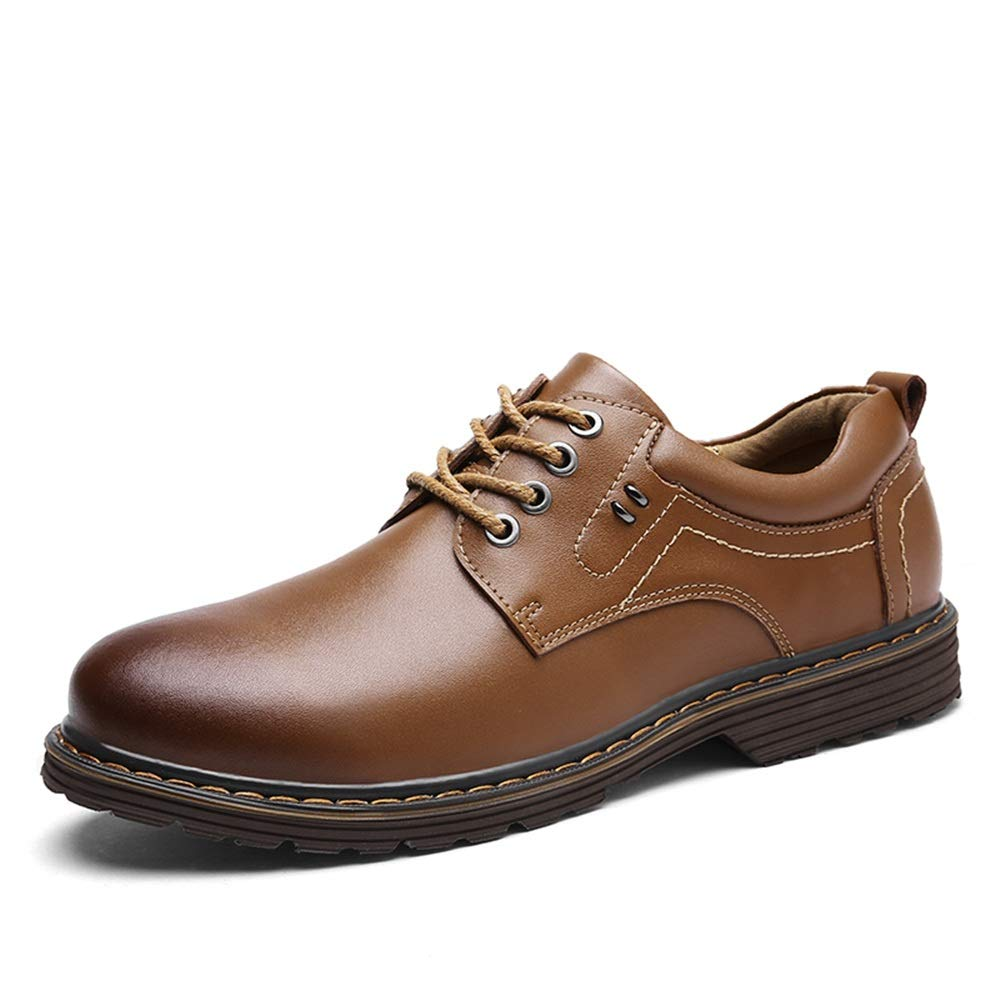 Light Brown SRY-shoes Men's Simple Fashion Leisure Oxford Casual Simple Youthful Style with Low Top Lace up Formal shoes