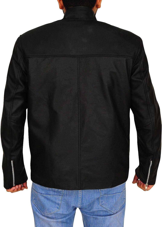 TrendHoop Mens Black Leather Casual Fitted Western Trucker Star Jacket