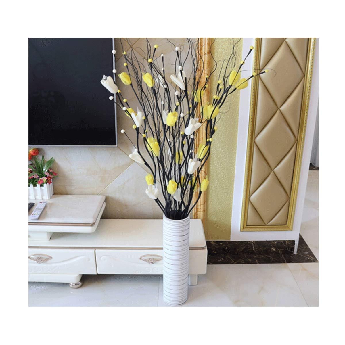 8HAOWENJU シミュレーションフラワーリビングルームの装飾フラワーフロアフラワーアレンジメント静脈フラワーブーケ屋内装飾家の装飾花セット(2選択) (Color : Yellow) B07T4XVPXY Yellow