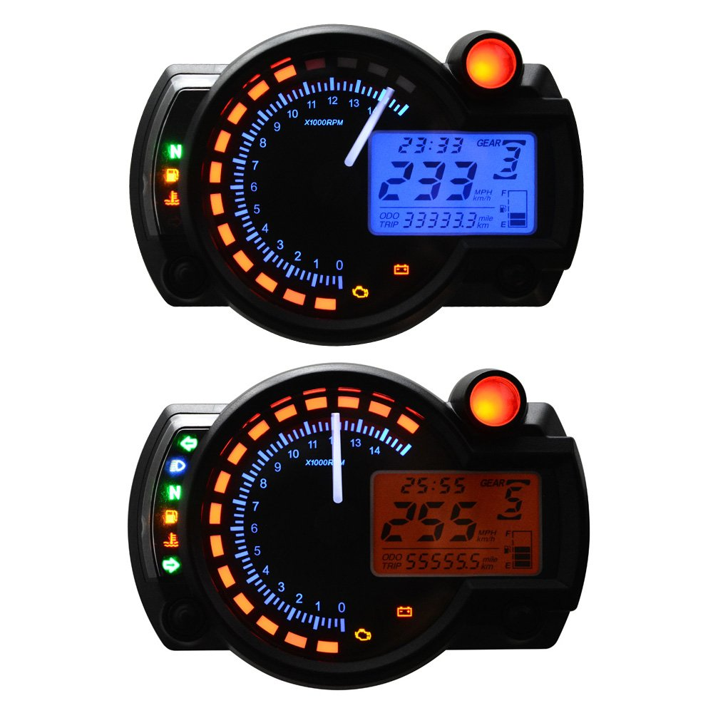 All In One Motorcycle Odometer Speedometer Tachometer Cool Sport Bike Stroke Wiring Diagram Gauge Rpm 15000 Universal Lcd Digital Kit Automotive