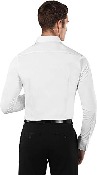 Easy Iron Stretch Extra Slim-Fit Taglio Molto Aderente Collo Classico Manica Lunga in Tinta Unita Vincenzo Boretti Camicia Elastica Uomo Eleganti Facile da Stirare