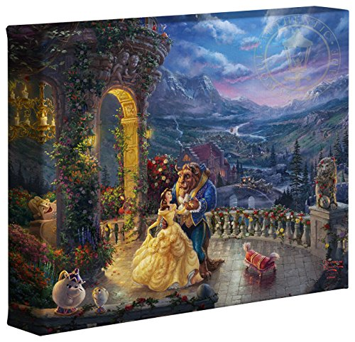 Thomas Kinkade Studios Beauty and the Beast Dancing in the Moonlight 8 x 10 Gallery Wrapped Canvas ()