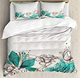 Our Wings Turquoise Comforter Set,Retro Floral Background Hibiscus Silhouettes Dramatic Romantic Theme Bedding Duvet Cover Sets Boys Girls Bedroom,Zipper Closure,4 Piece,Beige Teal Twin Size