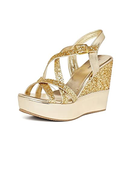 0223588f3 MarcLoire Gold Wedge Heels, Women/Girls,Fashion Sandals, Open Toe Golden,