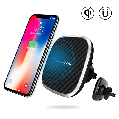 Nillkin Wireless Phone Car Charger - Qi Magnetic Wireless Charger Car Mount, 10W Fast Charging Air Vent Phone Holder, Compatible for iPhone 11/11 Pro/11 Pro Max/XS/X/8 Plus,Samsung S10/S10+/S9/S8