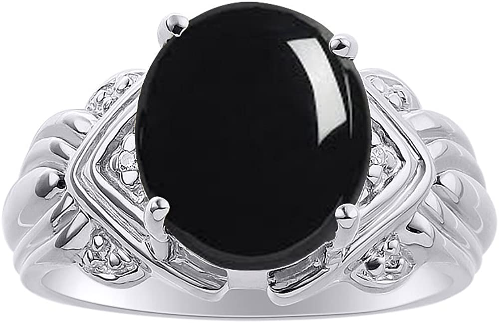 12 X 10MM Color Stone Birthstone Ring Diamond /& Onyx Ring Set In Sterling Silver