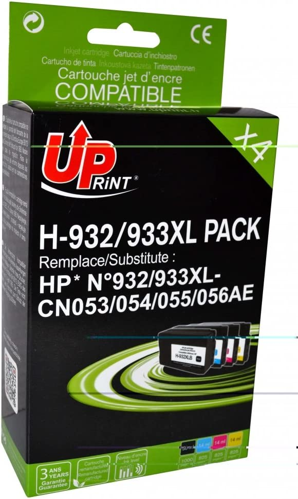 Pack de 4 cartuchos compatible HP CN053/CN054/CN055/CN056-N°932 ...