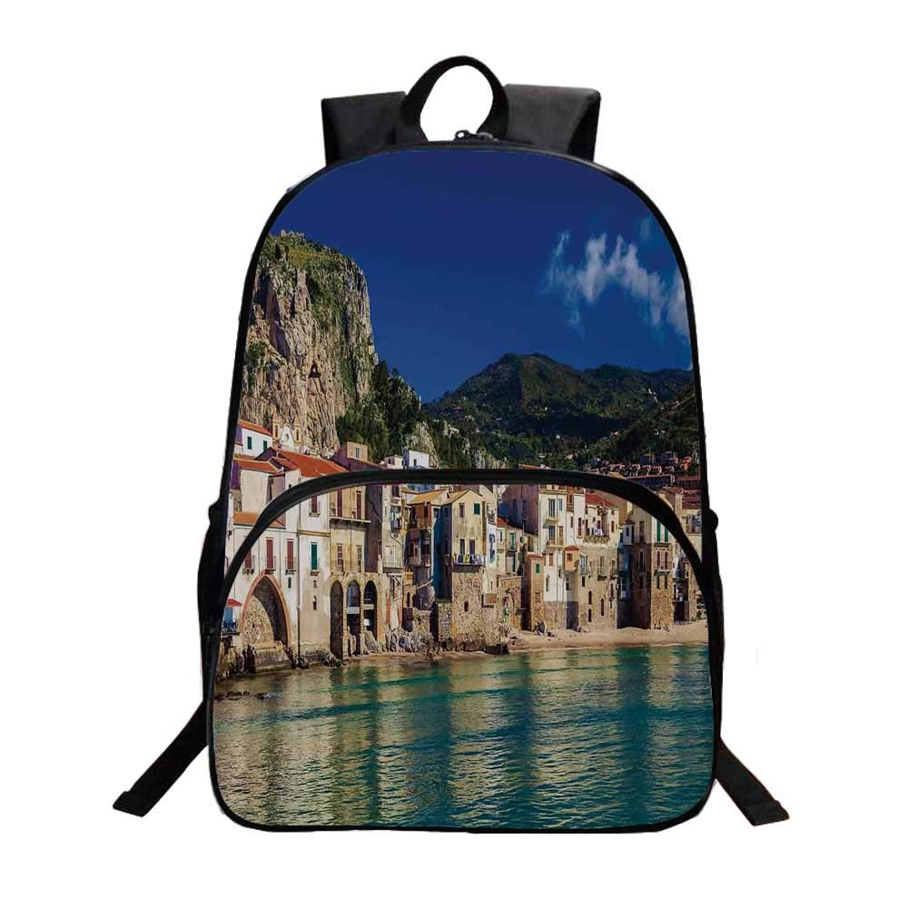 Wanderlust Decor Fashionable Backpack,Cozy Old Houses in the Port of Cefalu Sicily Mediterranean Seaside Mountain Seascape for Boys,11.8''L x 6.2''W x 15.7''H by TecBillion