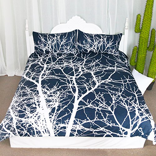 Tree Bedding 3 Pieces Tree Branches Duvet Cover Set Navy Blue Reversible Design Tree of Life Luxury Home Textile (Queen) ()