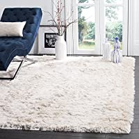 4 x 6 Handmade Neutral Ivory Color Soft Glam Shag Indoor Area Rug, Polyester Artistic Shaggy Fuzzy Calming Rich Pure Elegant Cloud Silky Rectangle Rectangular Solid Pattern Luxurious Accent Carpet