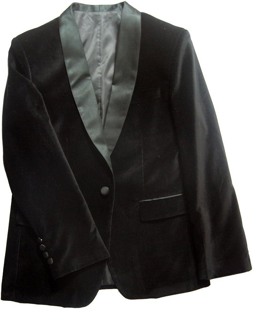 Tailorsun Mens Black Slim Fit Velvet Tuxedos Jackets with Black Pants