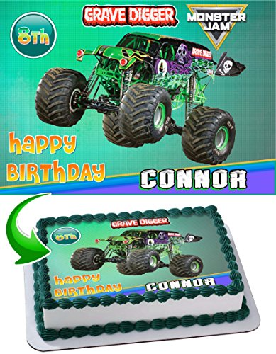Monster Truck Grave Digger Monster Jam Edible Cake Topper Personalized Birthday 1/4 Sheet Decoration Custom Sheet Party Birthday Sugar Frosting Transfer Fondant -