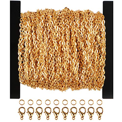 WUBOECE 39 Feet Curb Chain Necklace Bulk Cable 2mm Width with 30 Lobster Clasps and 100 Open Jump Rings for Jewelry Making, -