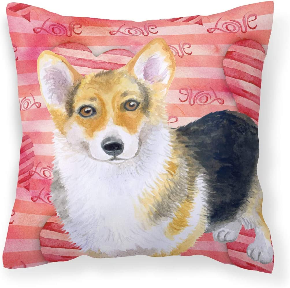 Caroline S Treasures Bb9729pw1414 Pembroke Corgi Love Fabric Decorative Pillow 14hx14w Multicolor Garden Outdoor