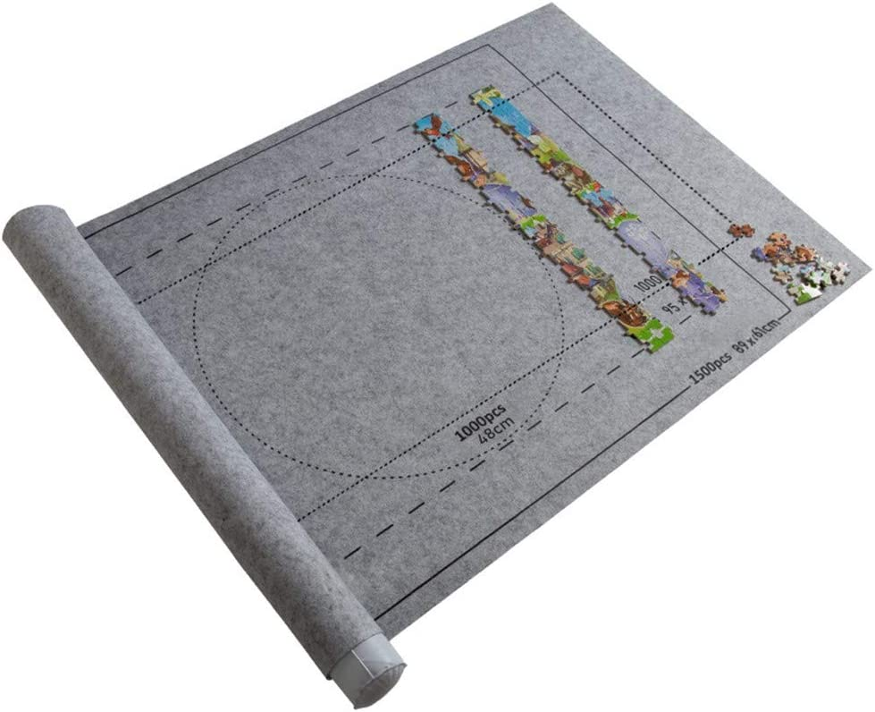Gray Firepit Puzzle Roll Mat Puzzle Storage Puzzle Saver Jigroll Up to 1500 Pieces Store with Drawstring Storage Bag