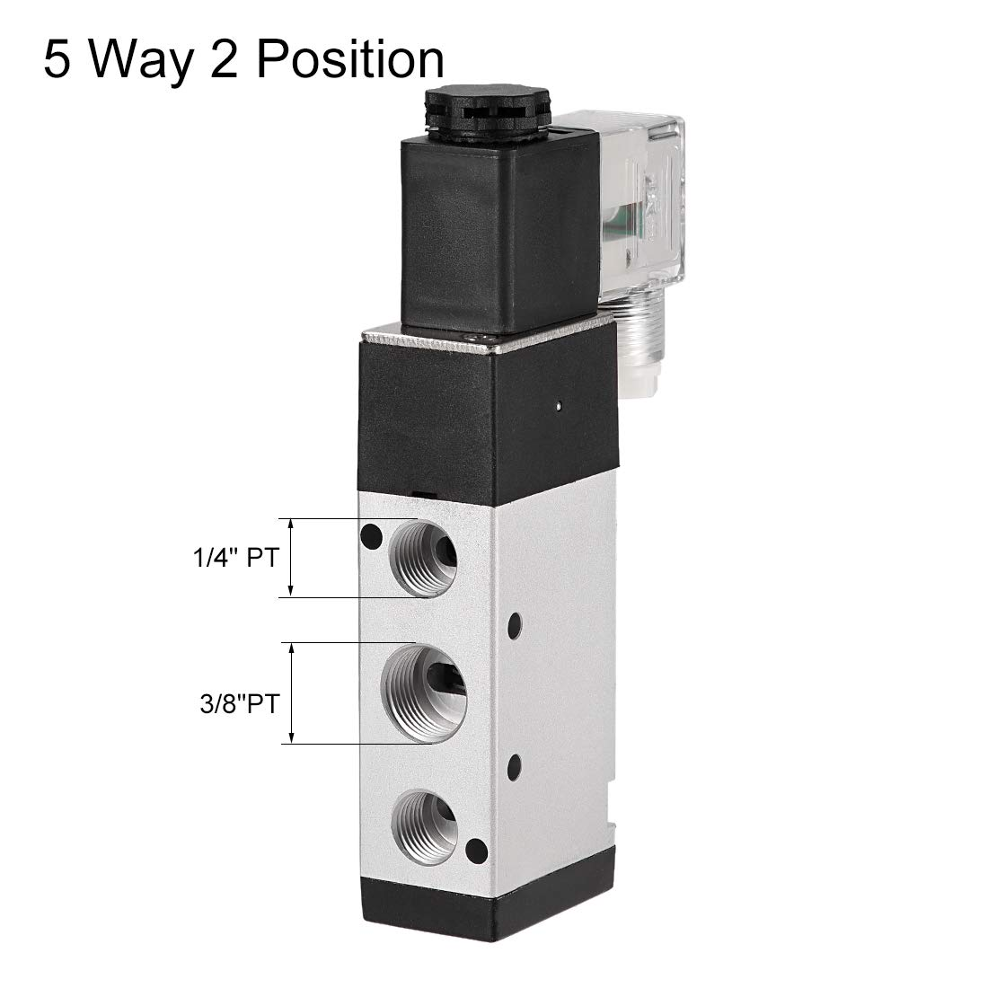 uxcell DC 12V 5 Way 2 Position 3//8 inchesPT,Pneumatic Air Solenoid Valve,Internally Single Piloted Acting Type,Red Light,4V310-10