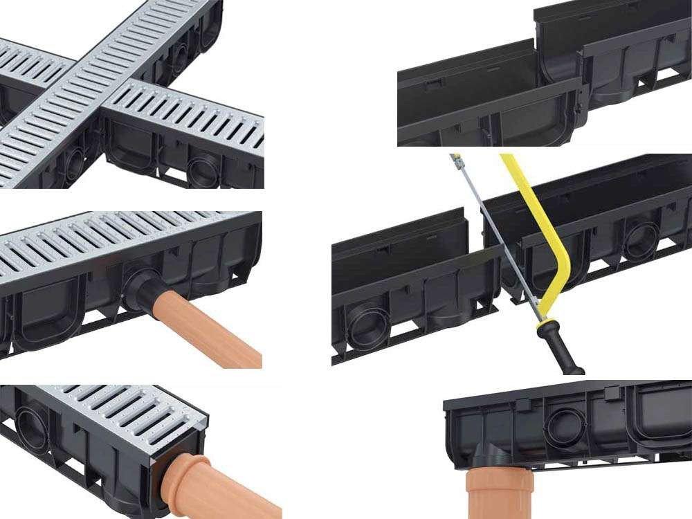 komplett mit verzinktem Stahlrost und Montagematerial L/änge:1m Entw/ässerungsrinne f/ür den Au/ßenbereich als modulares System in der L/änge 1m-20m