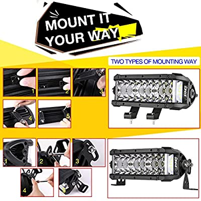 DJI 4X4 LED Light Bar, 7.5 Inch 102W Triple Row Side Shooter CREE LED Pods Off Road Spot Flood Combo Beam Waterproof Driving Fog Lights for Trucks Jeep ATV UTV SUV Pickup Boat, 2 Years Warranty: Automotive
