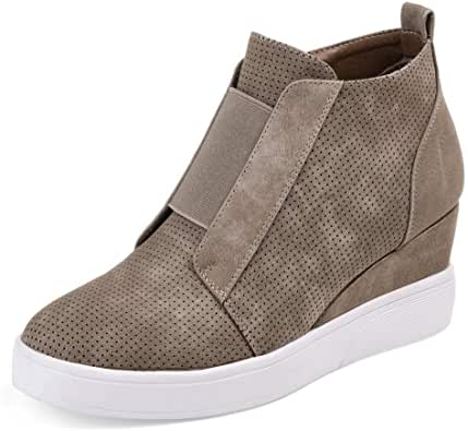 Athlefit Women's Wedge Sneakers Fashion Platform Boots Wedge Booties Ankle Heels Size 36 Brown