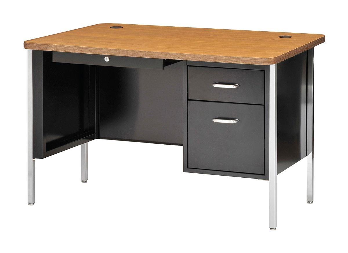 office desk metal. Office Desk Metal. Sandusky 600 Series Steel Single Pedestal Teachers With Medium Oak Top Metal F