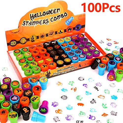 Mummy Game For Halloween Party (100 Pcs Halloween Assorted Stamps Kids Self-Ink Stamps for Kids Party Favors for Halloween Party Favors, Game Prizes, Halloween Goodies Bags,Teacher)