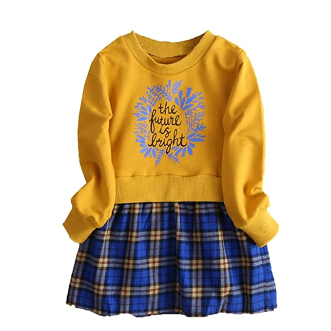 ropa de bebé, Honestyi Vestido de manga larga a cuadros de niña de manga larga