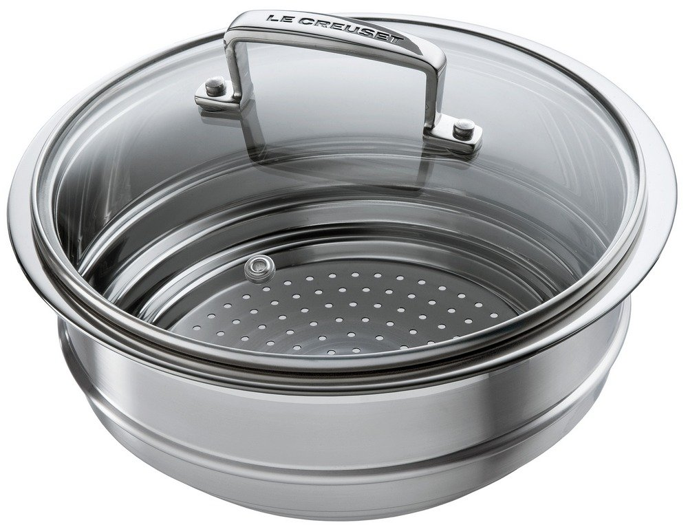 Le Creuset Tri-Ply Stainless Steel 7-Inch Steamer Insert, with Glass ...