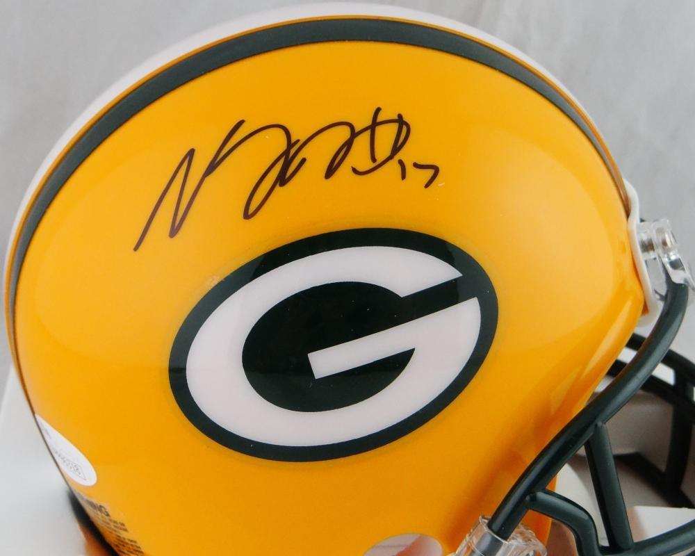 Devante Adams Autographed Green Bay Packers Mini Helmet JSA W Auth Black