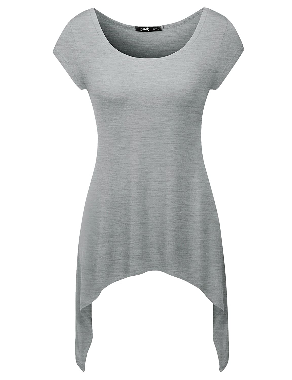 64f926df8ec TWINTH Womens Short Sleeve with Various Cut-Out Unbalanced Long Tunic Plus  Size / Featuring scoop round neckline and cut out shoulder ...