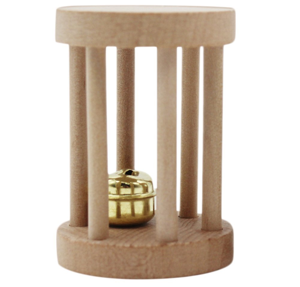 Da.Wa Wooden Hamster Toys Wood Hamster Playing Chewing Climbing Pet Toy Wooden Hamster Cats Toys and Accessories for Small Animals with Bells