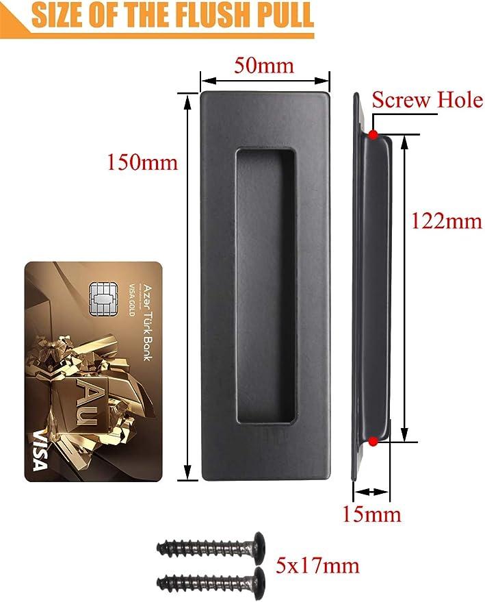 PinLin - Tirador rectángulo de acero inoxidable 304 para puerta corredera empotrada de 50 mm x 150 mm, tornillos ocultos con diseño de inserto de dedo, negro: Amazon.es: Bricolaje y herramientas