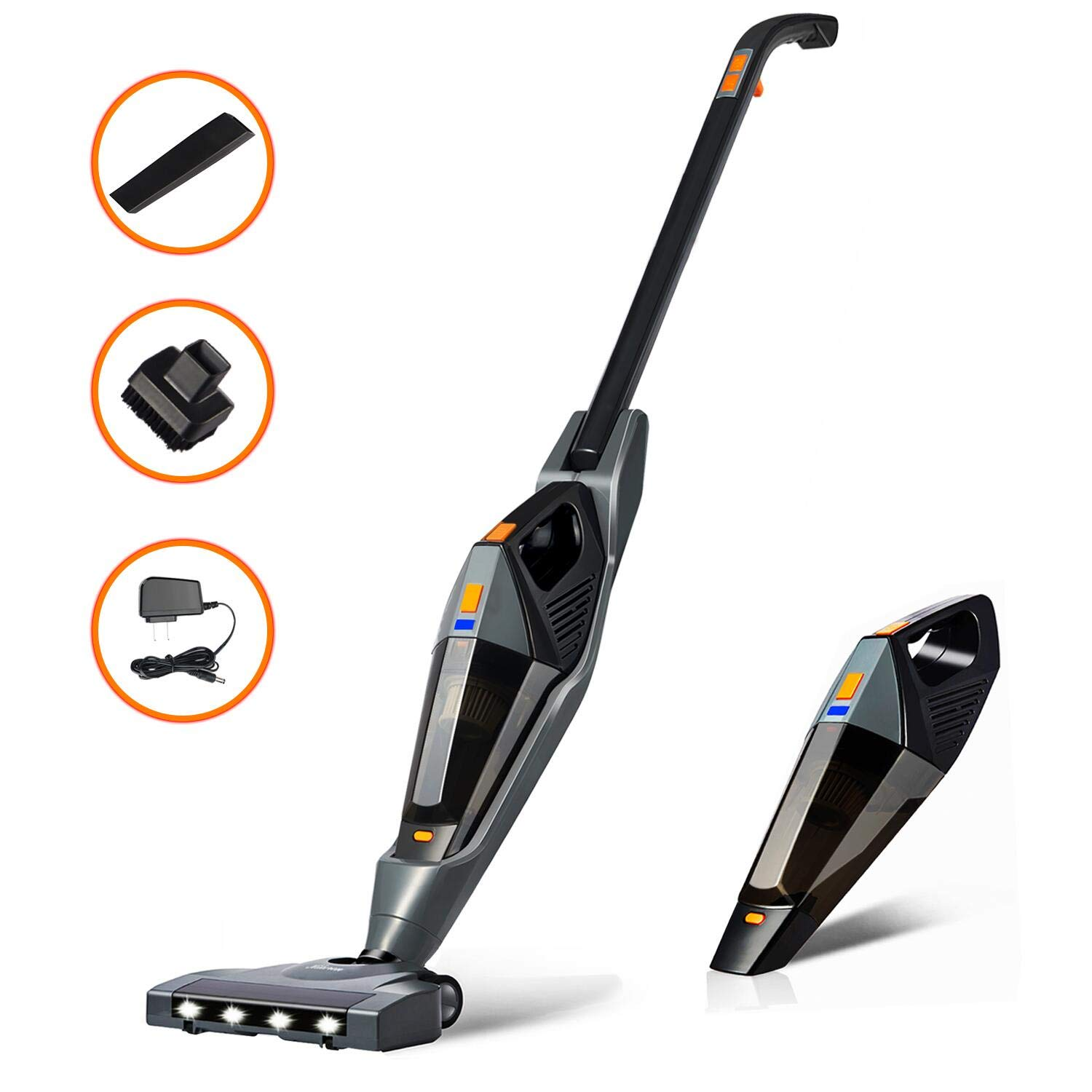 Cordless Vacuum, Hikeren 12000 PA Stick Vacuum Cleaner, 2 in 1 Lightweight Rechargeable Bagless Stick and Handheld Vacuum with Wall Mount for Carpet Hardwood Floor Pet Hair
