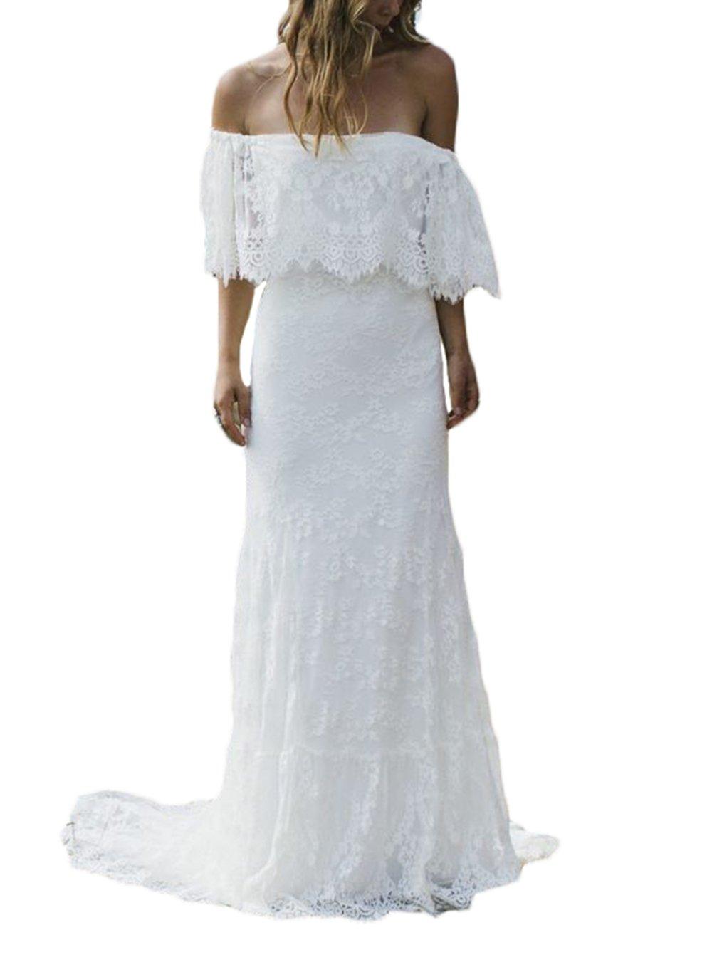 Sexy Beach Wedding Dress A Line Lace Bohemian Dresses Vestidos de novia