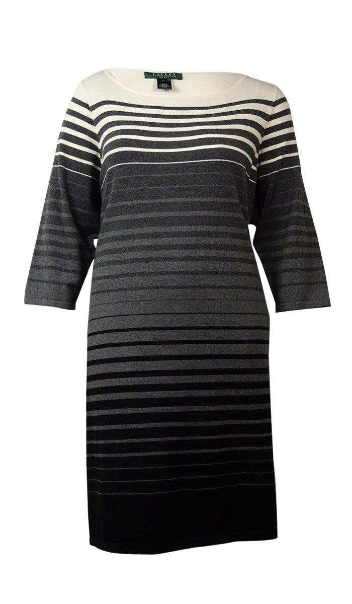 RALPH LAUREN Lauren Women's Colorblocked Striped Sweater Dress (3X, Grey Multi)