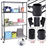 Safstar Commercial 4 Tier Shelf Adjustable Metal Shelving Rack Kitchen Standing Organizer Space Saver Steel Wire Storage Rack Cart For Sale