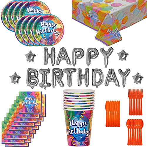 Birthday Party Supplies and Decorations for 8: 70 Pieces. Plates, Cups, Cutlery, Napkins, Tablecloth, Balloon Birthday Banner.