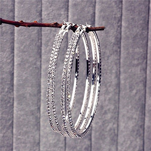 Wholesale Round Earrings Diamond Crystal Earring Dangle Ring Ear Hoop Earrings