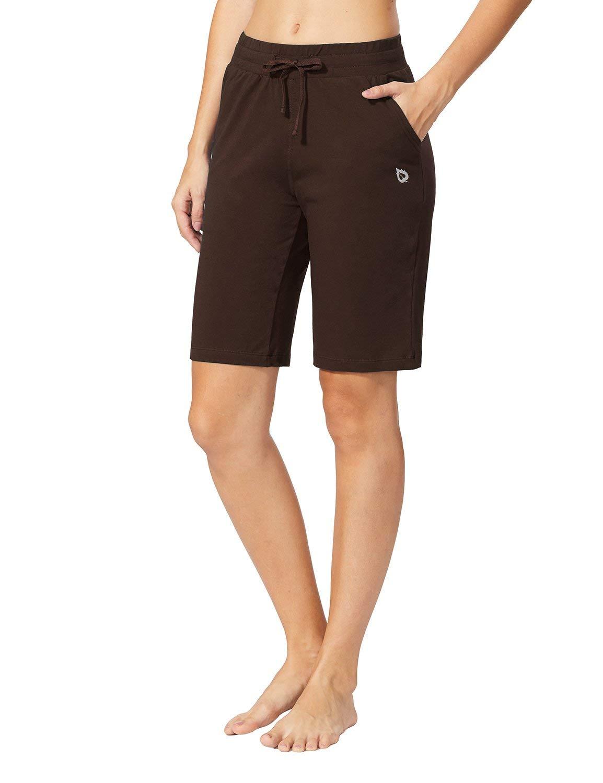 BALEAF Women's Active Yoga Lounge Bermuda Shorts with Pockets Coffee Size S