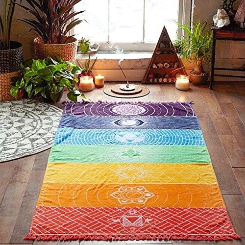 Rainbow Chakra Beach Mat Mandala Yoga Towels with Tassels Tapestry Stripes Yoga Mat 150cmx75cm