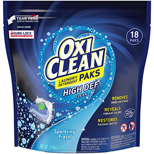 Oxiclean Laundry Detergent HD Pack, Sparkling Fresh Scent, 18 Count