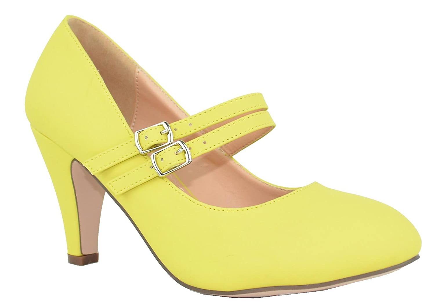 Chase & Chloe Double Kimmy-61 Women's Mary Jane Double Chloe Strap Buckle Pump B073WLQP23 7.5 B(M) US|Yellow c498bf