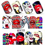 Kiss rockstar graffiti 1980s nail decals water transfer nail stickers Hippie rock red lips tattoo nail design anime manga acrylic nail accessories gothic nail vinyls French tip cosplay nail art